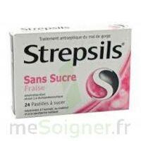 STREPSILS FRAISE SANS SUCRE, pastille édulcorée à l'isomalt, au maltitol et à la saccharine sodique à Bergerac